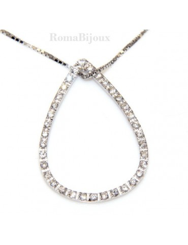 sterling silver : Venetian Necklace with pendant drop to pave cubic zirconia