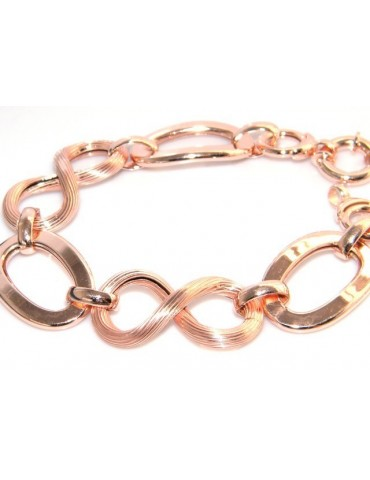 925 Silver and Gold Rosé: woman bracelet with oval link smooth and grooved 8