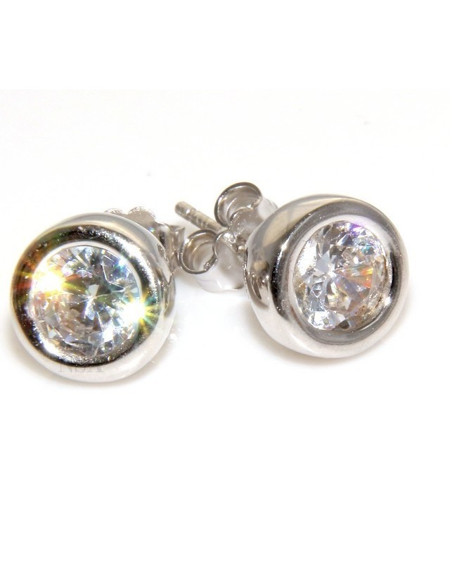 silver stamped 925 pink color: earrings woman man onion 6mm cubic zirconia
