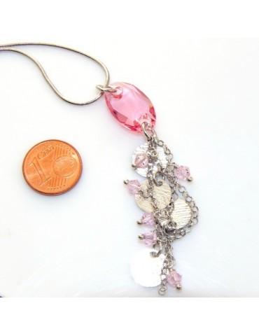 Argento 925 : Collana girocollo uomo o donna con pendente cristallo rosa