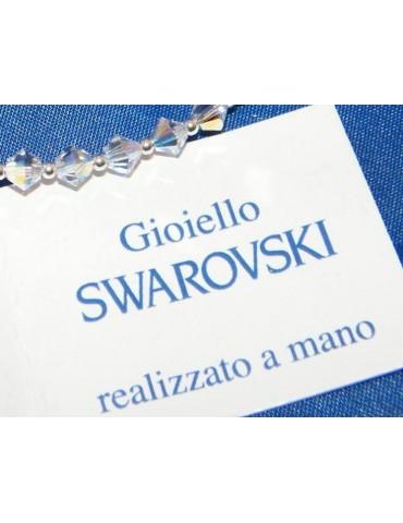 Bracciale Argento 925 Con Swarovski Bicono BIANCO Crystal White varie misure