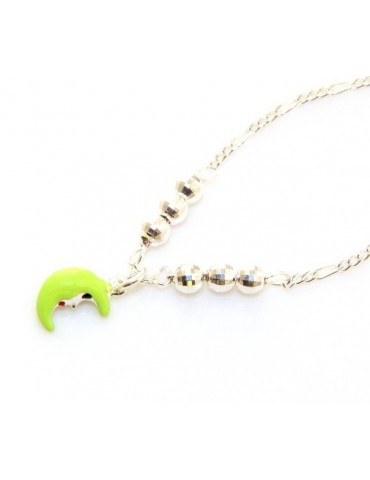 fine silver : Necklace for woman and girl with green half moon