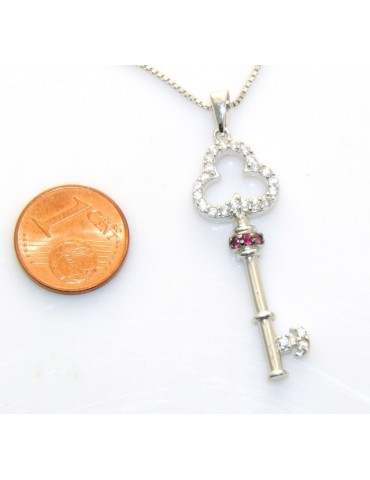 fine silver : Necklace for  woman with  Key pendant