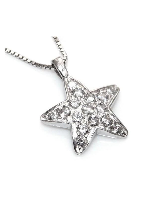 Argento 925 : Collana girocollo veneziana ciondolo stella 15 x 20 pavè di zirconi