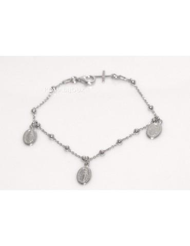 Bracciale rosario uomo o donna in Argento 925 con immagine madonnina 3 ciondoli e croce