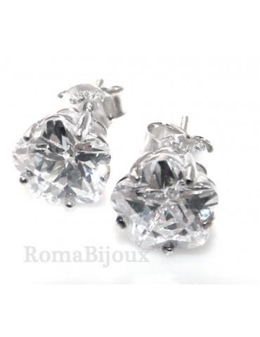 Silver 925: earrings man / woman flower