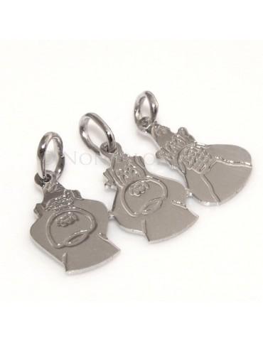 argento 925 - 3 ciondoli da spezzare con le scimmie per famiglia amici