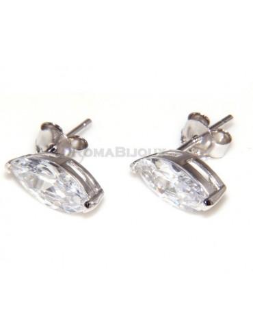 Argento 925 : orecchini donna stud punto luce navette zirconi bianchi
