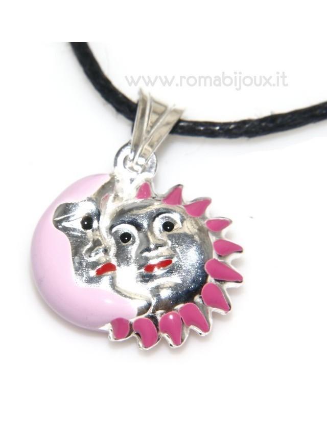 ciondolo sole e luna rosa fucsia