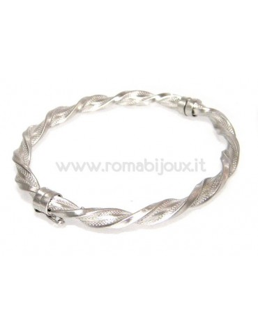 Woman bracelet in 925 sterling silver with rhodium not oval large measure 17,00 cm