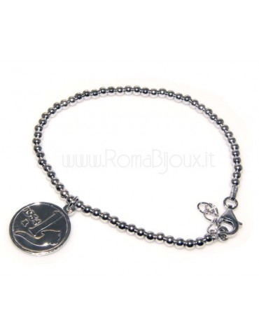 Bead bracelet man or woman in 925 sterling silver pendant with a 1,954 lira coin