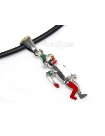 ARGENTO 925 : ciondolo pinocchio snodato smaltato con collana rope o laccio