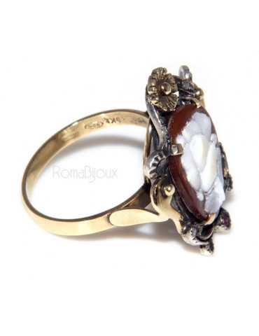 9 kt yellow gold and 925 sterling silver antique: Ring woman baroque handmade cameo oval and root ruby ​​mis 16/17