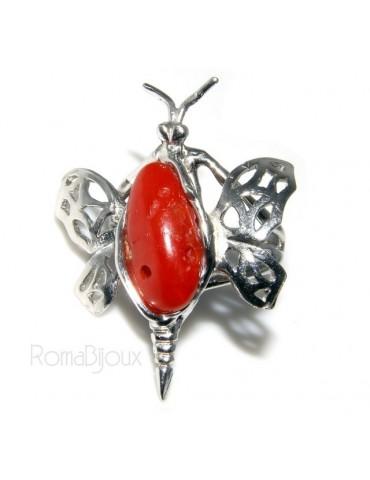 Argento 925 : Anello donna farfalla realizzato a mano con gemma di corallo rosso naturale 17