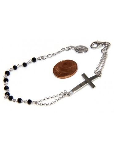 Bracciale rosario uomo donna in Argento 925 con immagine madonnina , croce convessa e cristallo nero . Mis 17,50