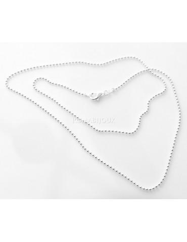 ARGENTO 925 : Girocollo collana pallini palline balls 1,8 mm varie lunghezze modello chiara sbiancata