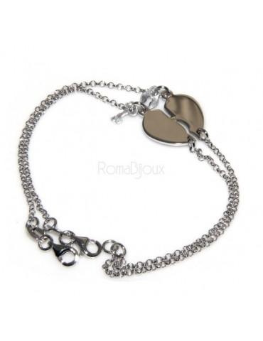 bracciale con medagliette incise a cuore