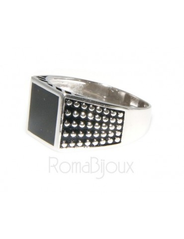 silver : shield ring for man