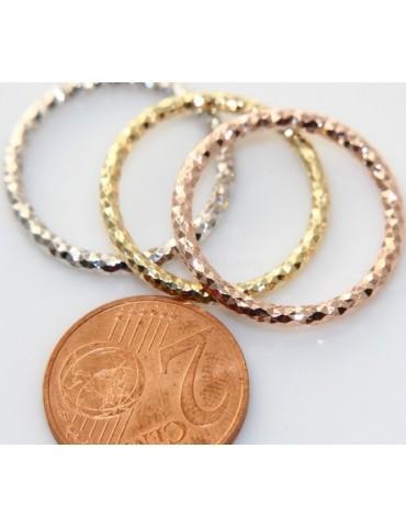 Argento 925 Italiano : anello microfusione 3 colori (oro bianco giallo rosa) diamantato mis 16 o 18