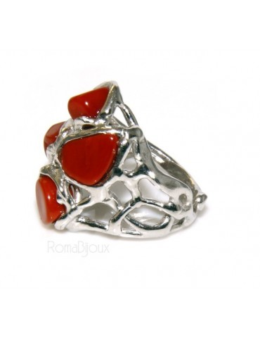 Argento 925 : Anello donna regolabile realizzato a mano con stella di corallo rosso naturale