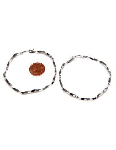 925: Women's earrings hoop circles twisted bushes 45.0 mm