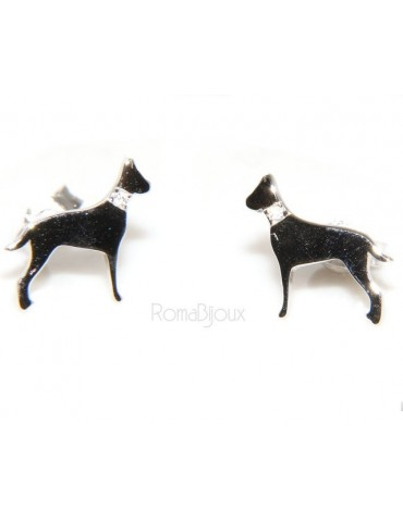 925: man woman stud earrings dalmatian dog / setter collar zircons