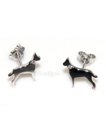 Argento 925 : orecchini uomo donna perno cane dalmata / setter collare zirconi