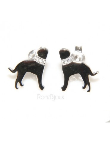925: earrings man woman pin rottweiler dog collar zircons