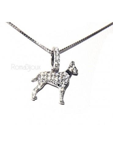 Argento 925 : orecchini uomo donna perno cane rottweiler collare zirconi