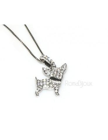 Argento 925 : MyDog collana donna veneziana con pendente ciondolo cane chiwawa microsetting zirconi brillanti