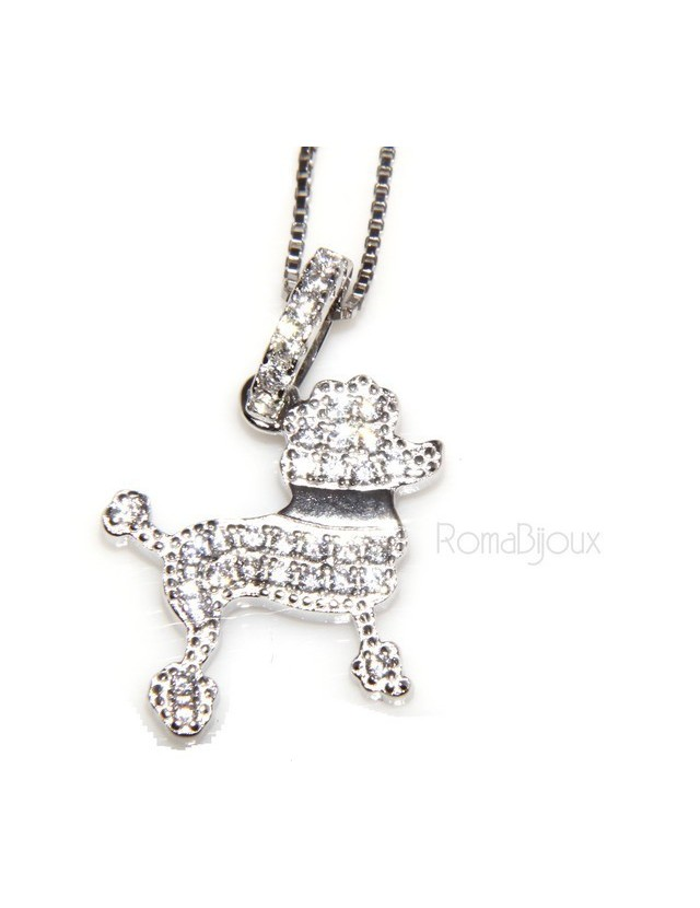 925: My Dog Venetian woman necklace with pendant dog poodle pendant microsetting brilliant cubic zirconia