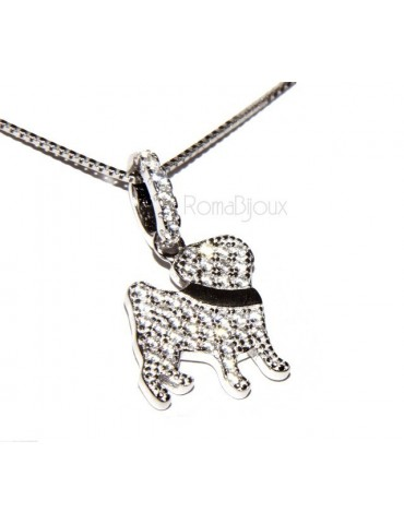 925: My Dog Venetian woman necklace with pendant dog pug microsetting brilliant cubic zirconia
