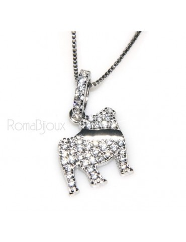 925: My Dog Venetian woman necklace with pendant dog Bulldog microsetting brilliant cubic zirconia