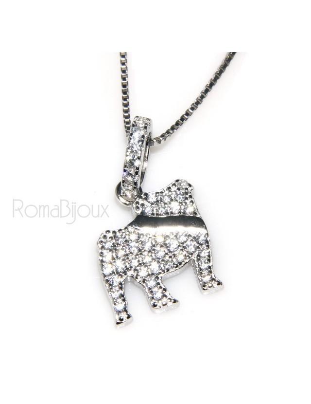 925: My Dog Venetian woman necklace with pendant dog Bulldog microsetting brilliant cubic zirconia