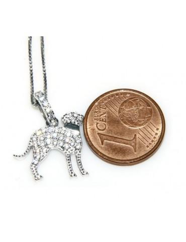 Argento 925 : MyDog collana donna veneziana con pendente ciondolo cane Bracco microsetting zirconi brillanti