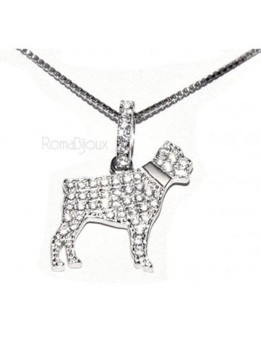 Argento 925 : MyDog collana donna veneziana con pendente ciondolo cane Rottweiler microsetting zirconi brillanti