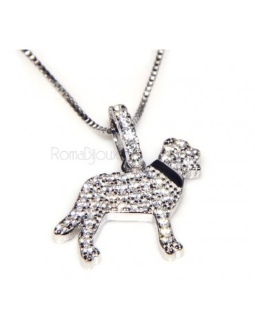925: My Dog Venetian woman necklace with pendant dog pendant Labrador microsetting brilliant cubic zirconia
