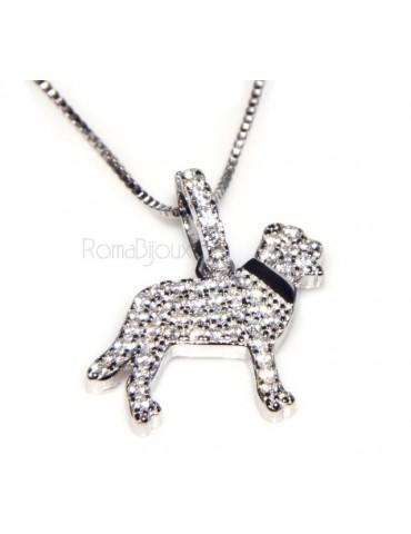 Argento 925 : MyDog collana donna veneziana con pendente ciondolo cane Labrador microsetting zirconi brillanti
