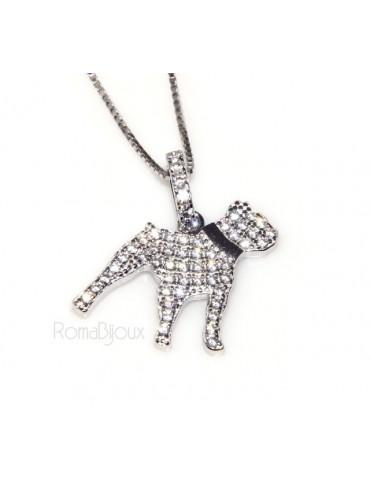 Argento 925 : MyDog collana donna veneziana con pendente ciondolo cane Pitbull microsetting zirconi brillanti
