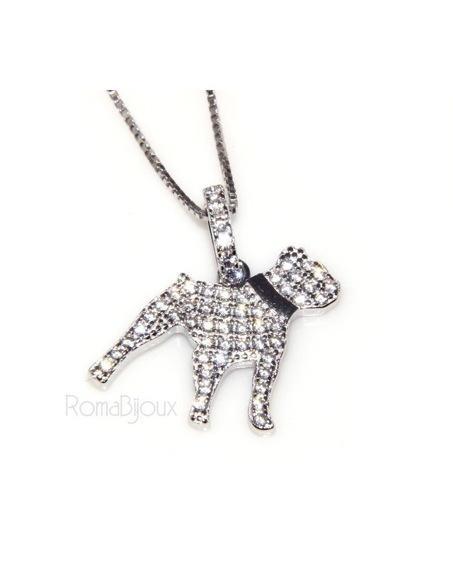 925: My Dog Venetian woman necklace with pendant dog Pitbull microsetting brilliant cubic zirconia