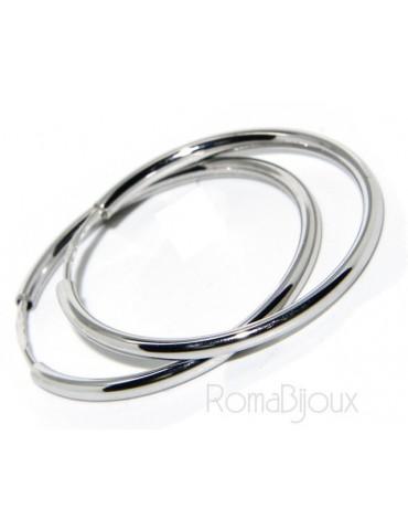 Argento 925 : orecchini donna anelle cerchi boccole lisce classiche 30 mm