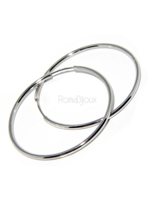 Argento 925 : orecchini donna anelle cerchi boccole lisce classiche 46 mm