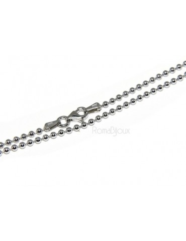 SILVER 925: Choker necklace dots balls balls 2.0 mm different model lengths rhodium-plated white gold effect