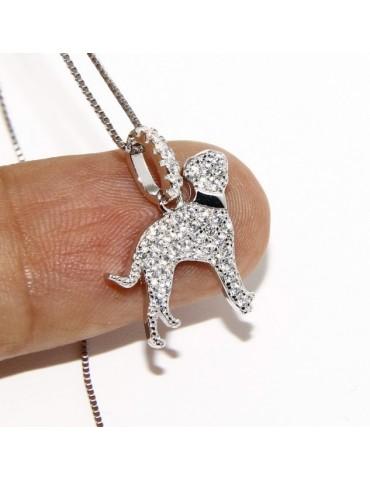 925: My Dog Venetian woman necklace with pendant dog DALMATA microsetting brilliant cubic zirconia
