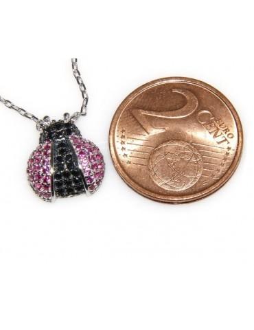 Argento 925 : Collana Collier donna pendente centrale coccinella magenta nero amuleto