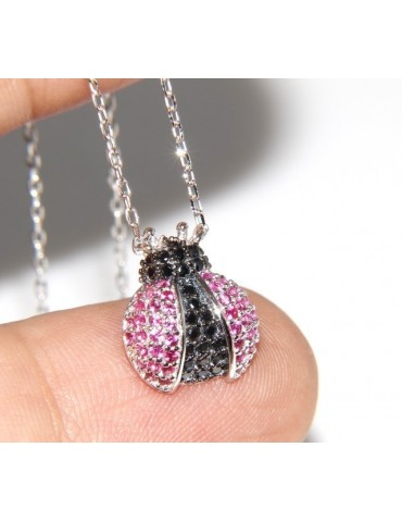 925: Collier Necklace with central pendant amulet ladybug magenta