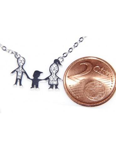Argento 925 : Collana Collier donna pendente centrale famiglia con bambino figlio unico
