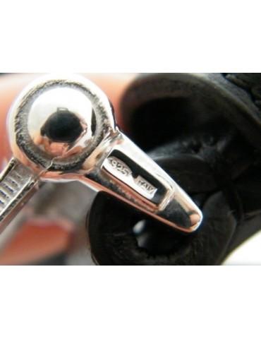 Cintura uomo in vitello nero con fibbia e puntale in argento 925 massiccio 100-115