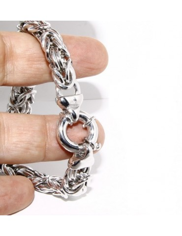 SILVER 925: impressive Byzantine chain bracelet woman 12mm made in italy