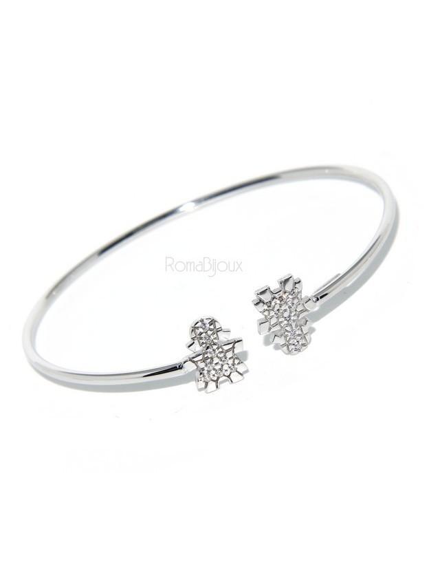 SILVER 925: woman bracelet slave girl opened bright white natural zircons